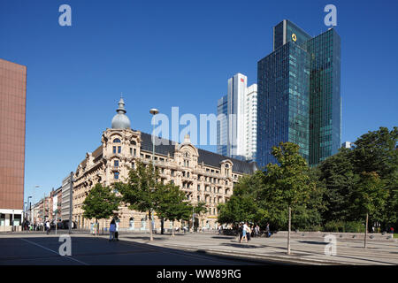 Gründerzeit buildings, former palace hotel Fürstenhof at Willy-Brandt-Platz. Hotel Fürstenhof-Esplanade, high-rise buildings Gallileo and Silberturm, - Stock Photo