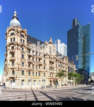 Gründerzeit buildings, former palace hotel Fürstenhof at Willy-Brandt-Platz, hotel Fürstenhof-Esplanade, skyscrapers Gallileo and Silberturm, Frankfur - Stock Photo