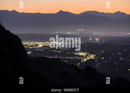 Predawn mountaintop view of the north San Fernando Valley in Los Angeles California. - Stock Photo