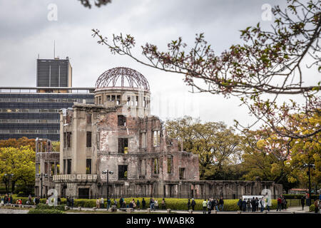 Atomic Bomb Dome, Memorial Park, Hiroshima, Japan. - Stock Photo