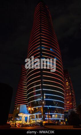 Baku, Azerbaijan  September 13, 2019 Flame Towers in night illumination - Stock Photo