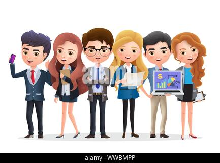 Business team vector characters. Business characters marketing team and manager standing with job teamwork in white background. Vector illustration. - Stock Photo