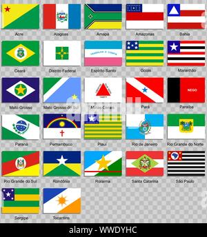 Set of icons. Flags of the states of Brazil - Stock Photo