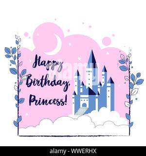 Happy birthday, princess. Greeting card with fairy castle in the sky and inscription for little girl. Vector illustration. - Stock Photo