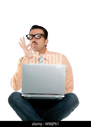 nerd man sit with laptop computer doing ok positive gesture - Stock Photo