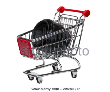 Shopping Cart with a camera lens isolated on white background - Stock Photo