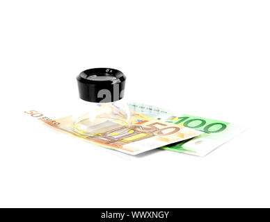euros bills and a lupe on white background - Stock Photo