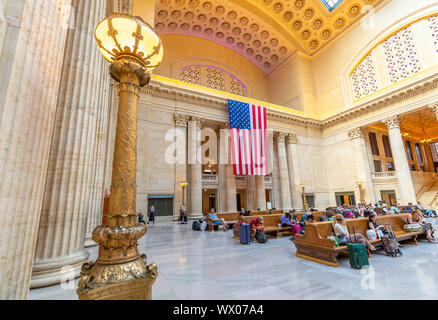 View of the interior of Union Station, Chicago, Illinois, United States of America, North America - Stock Photo