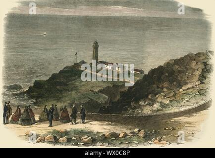 'The Queen Visiting South Stack Lighthouse, Holyhead, On Her Majesty's Return from Ireland', 1853, (1861). Queen Victoria (1819-1901) and her family visited the South Stack Lighthouse in September 1853. The lighthouse, built in 1809, stands on the summit of a small island off the north-west coast of Holy Island, Anglesey, Wales. - Stock Photo