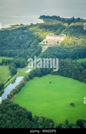An image of a flight over Herrenchiemsee - Stock Photo