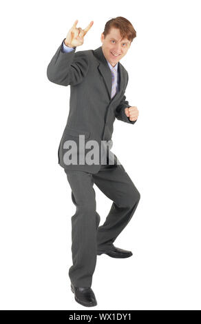 Cheerful businessman in a jubilant pose on a white background - Stock Photo