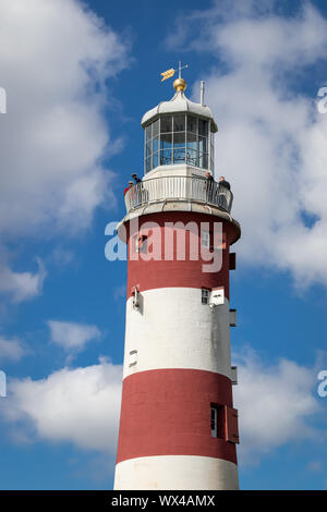 Smeaton's Tower Lighthouse a Memorial to John Smeaton Designer of the Third Eddystone Lighthouse on The Hoe Plymouth,Devon UK - Stock Photo