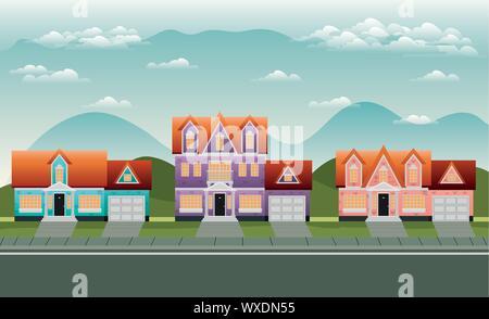 neighborhood street with houses scene - Stock Photo
