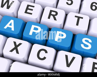 Apps Keys Showing Web Application Or Applications - Stock Photo