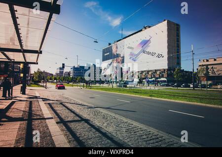 Katowice, Silesia, Poland; September 15, 2019:  Korfantego street - the main street of Katowice with Separator building covered with a commercial - Stock Photo