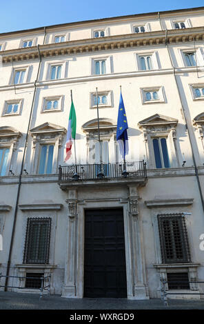 Palace Palazzo Chigi  in Rome which is the official residence of the Prime Minister of Italy - Stock Photo