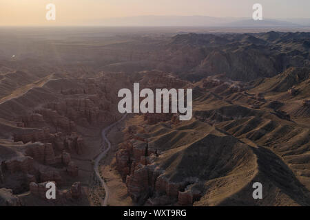 Aerial view of the Charyn Canyon in Kazakhstan, Central Asia, at sunset - Stock Photo