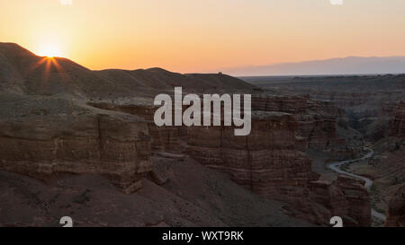 Aerial view of the Charyn Canyon in Kazakhstan, Central Asia, at sunrise - Stock Photo