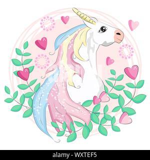 beautiful unicorn card, unicorn head inside a frame of hearts - Stock Photo