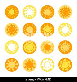 Cartoon sun collection. Yellow glossy sun icons set isolated on white. Sun pictogram, summer symbol for website design, web button, mobile app. - Stock Photo
