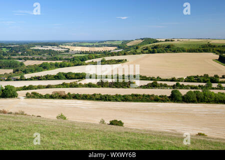 View over Hampshire farmland countryside from the top of Beacon Hill, Burghclere, Hampshire, England, United Kingdom, Europe - Stock Photo