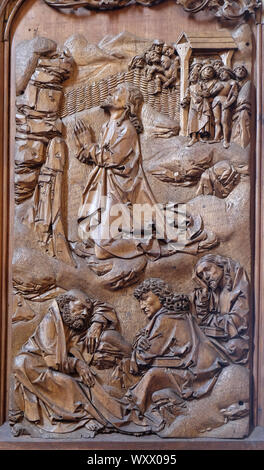 Christ praying in the Garden of Getshemane, altar of the Holy Blood in St James Church in Rothenburg ob der Tauber, Germany - Stock Photo