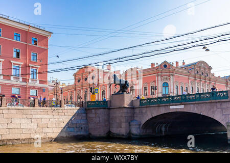 Anichkov Bridge with Klodt's The Horse Tamers sculptures in Saint Petersburg, Russia - Stock Photo
