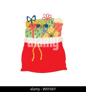 Open red bag full of Christmas presents vector solated. Cartoon Santa s sack with gift boxes for congratulation at holidays - Stock Photo