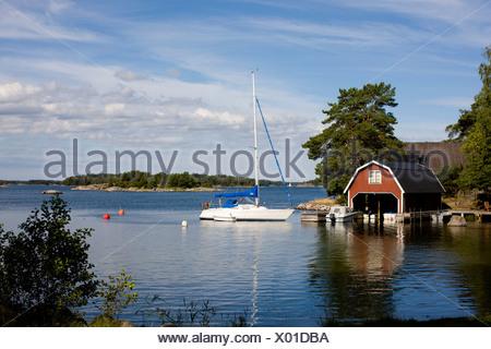 Sailing-boat in Stockholm archipelago Sweden. - Stock Photo