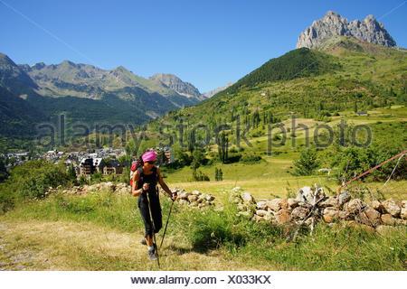 Valle de Tena walker Huesca Pyrenees Pyrenees Mountains Spain - Stock Photo