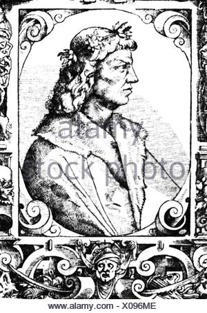 Matthias I Corvinus, 27.3. 1443 - 6.4.1490, King of Hungary 24.1.1458 - 6.4.1490, portrait, copper engraving, 17th century, Artist's Copyright has not to be cleared - Stock Photo