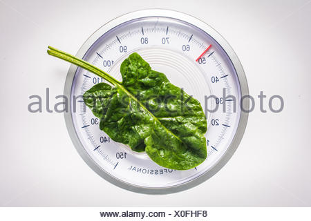 Spinach leaf on scales, dieting, conceptual image. - Stock Photo