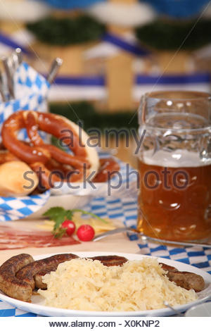 bavarian cuisine,sausage,sauerkraut - Stock Photo