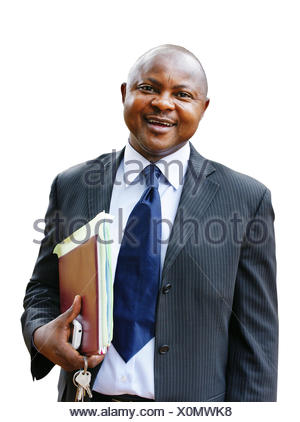 African business man in suit on white - Stock Photo