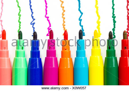 Various color felt-tip pens  isolated on white background - Stock Photo