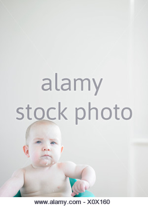 portrait of a six month old boy - Stock Photo