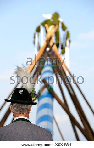 Man wearing traditional costume watching the maypole being raised in Holzhausen on Lake Starnberg, Muensing district - Stock Photo