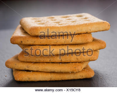 stack of square salt crackers - Stock Photo