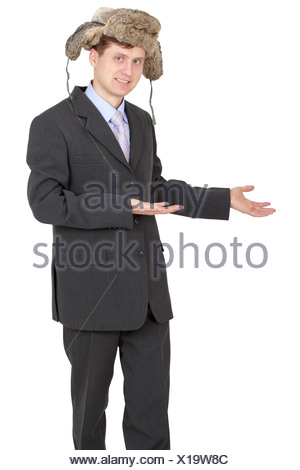Hospitable funny businessman with a fur hat - Stock Photo