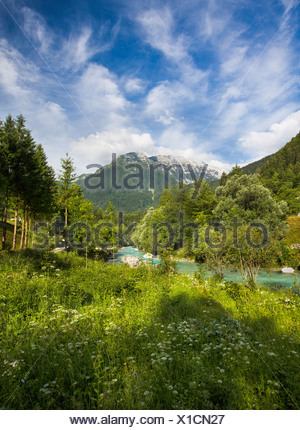 the soca trail in the julian alps; soca valley, gorenjska, slovenia - Stock Photo