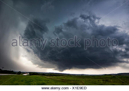 Rotating thunderstorm over rural area, Waynoka, Oklahoma, United States, North America - Stock Photo