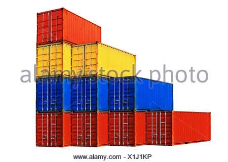 Zehn verschieden farbige Seecontainern gestapelt isoliert auf weißem Hintergrund. - Stock Photo