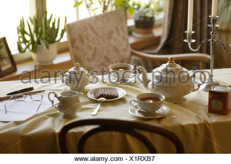 Coffee table, covered, porcelain, elegantly, table, table caps, white, dishes, china, tea service, cups, teapot, tea drinking, Teatime, tea, sugar bowl, lacteal pot, biscuits, reading glasses, ballpoint pens, candlesticks, chair, window, nobody, - Stock Photo