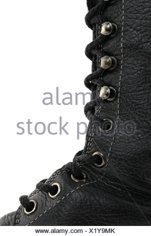 Closeup of black leather boot - Stock Photo