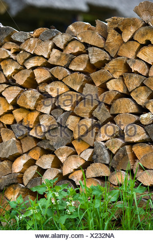 Woodpile, Tallinn, Estonia, Baltic States, Northeastern Europe - Stock Photo