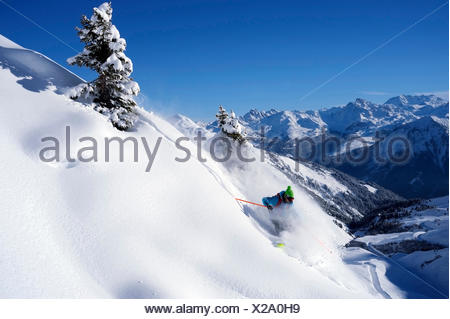 freeskiing in the French Alps, France, Savoie, La Plagne - Stock Photo