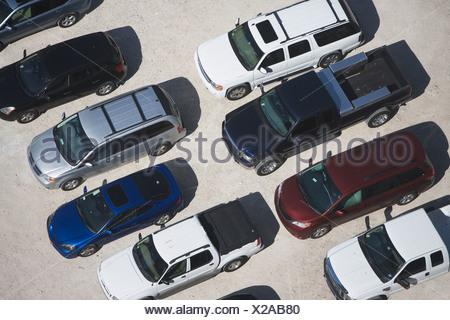 USA, Florida, Miami, Aerial view of car park - Stock Photo