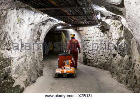 Worker carrying cement on electric pallet truck in of tunnels of Aiguille du Midi, Chamonix Mont-Blanc, Haute Savoie, France - Stock Photo