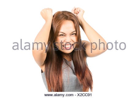 Angry Annoyed Asian Girl Slamming Fists Tantrum - Stock Photo