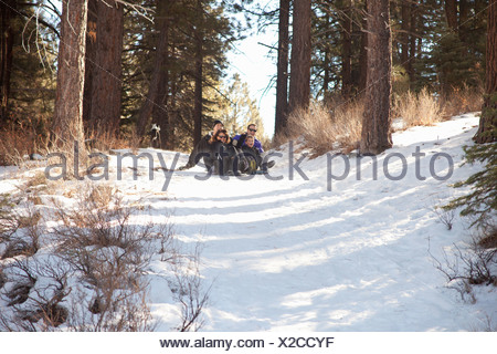 Boy and young adults sledging in snowy forest - Stock Photo